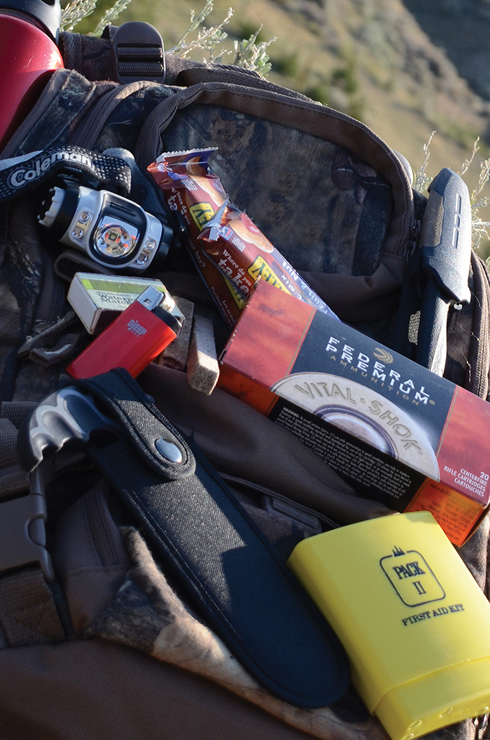 The weight of many small items quickly adds up. Take just the necessities and double-up when hunting with others.