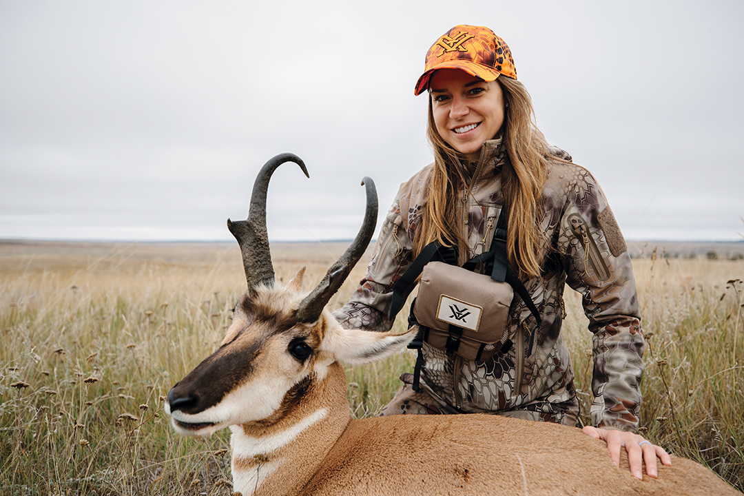 Vanessa is all smiles with her Wyoming public-land pronghorn buck.