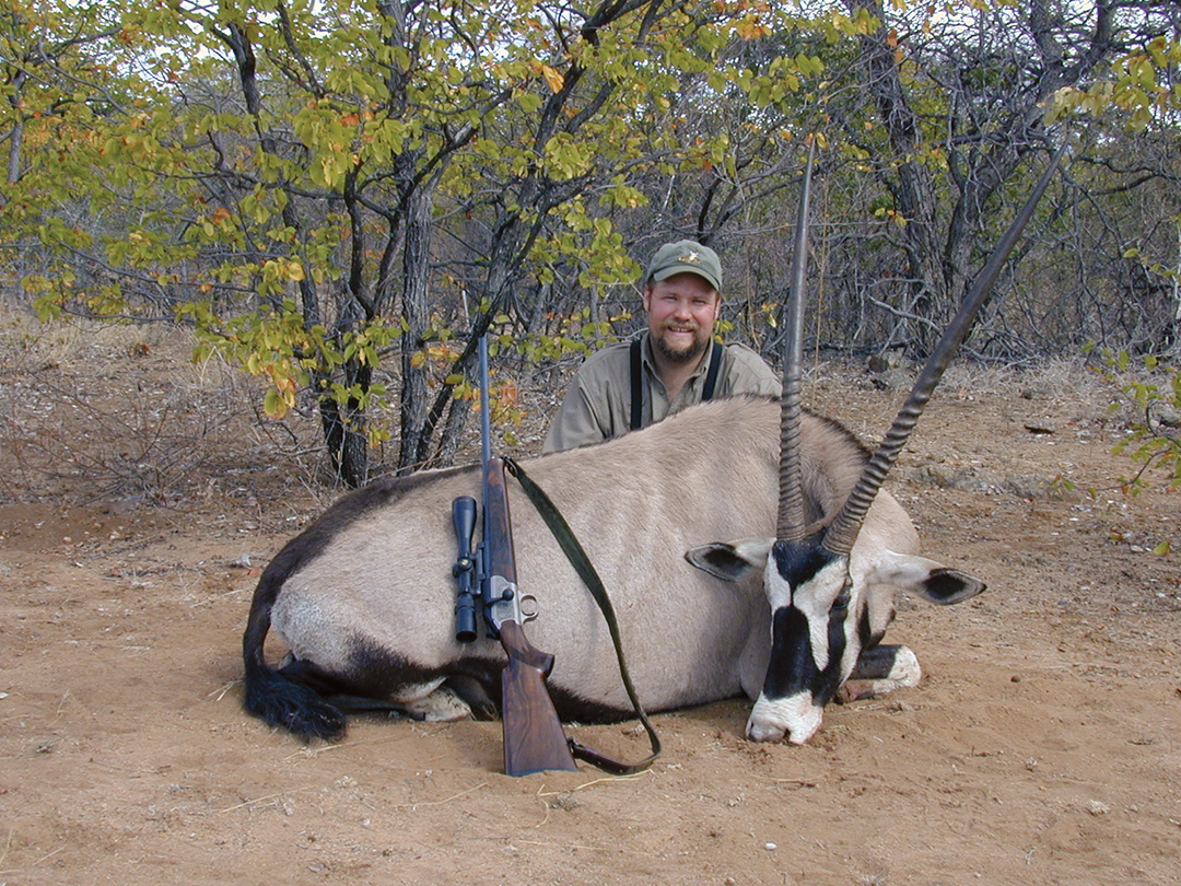 This free-range oryx was spotted from the top of a kopje as it moved through a patch of mopane trees.