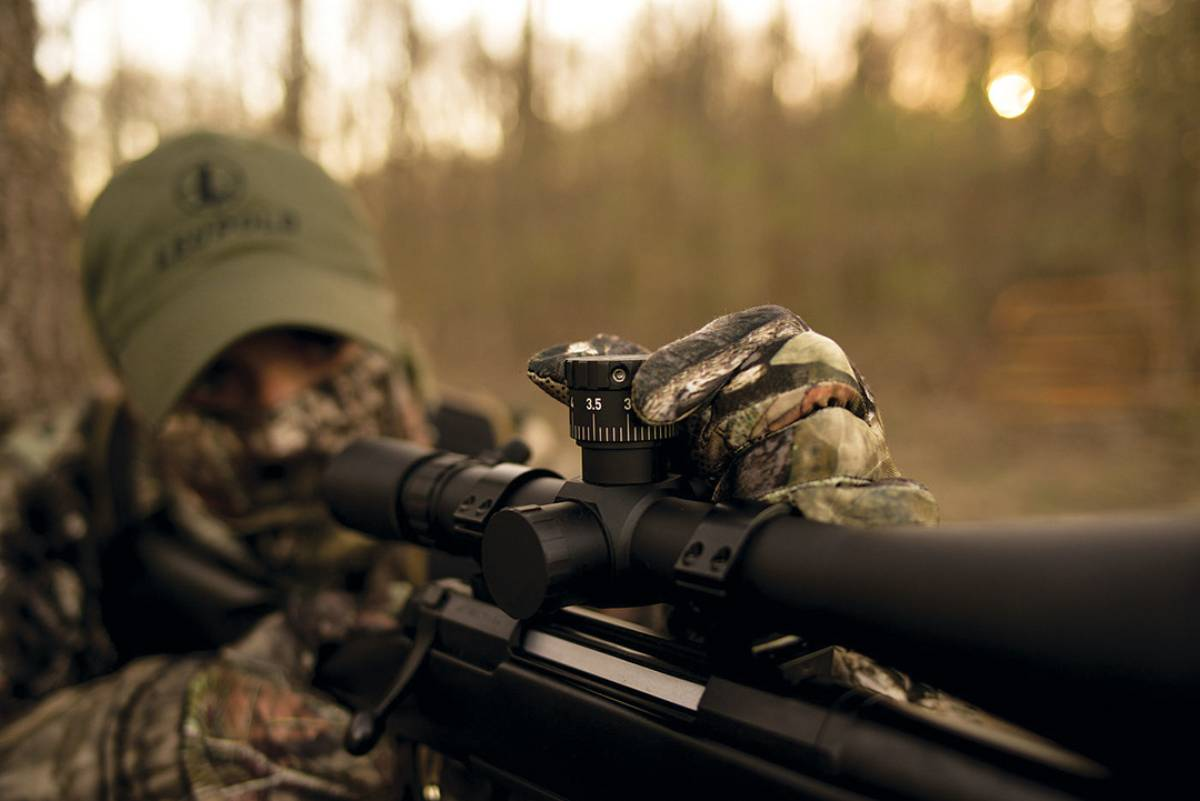 "Many hunters prefer to ""dial-up"" their shots by using modern scopes featuring turrets that, when adjusted, allow for a dead hold. When a coyote or bobcat runs in to the call, however, there is usually no time to adjust the scope."