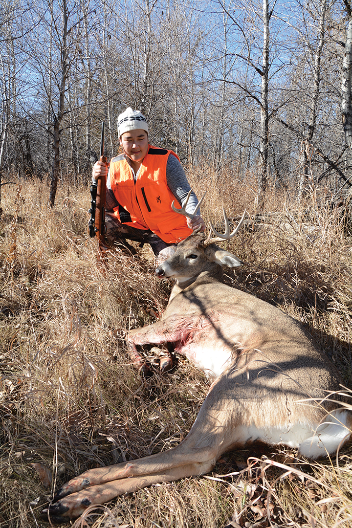 Zoe Ballard shot this buck on a small, thin strip of public land where whitetails are prone to bed.