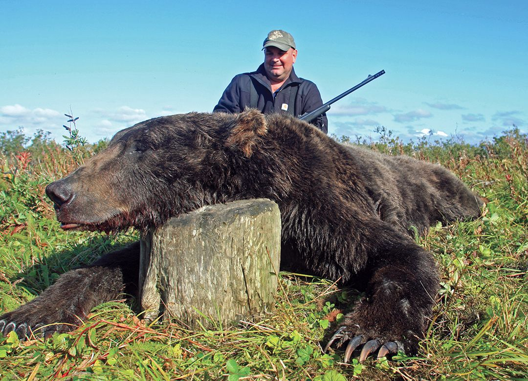 Jeff Ciallella with his Alaskan brown bear shot while hunting with Alaska Master Guide Charles Allen.