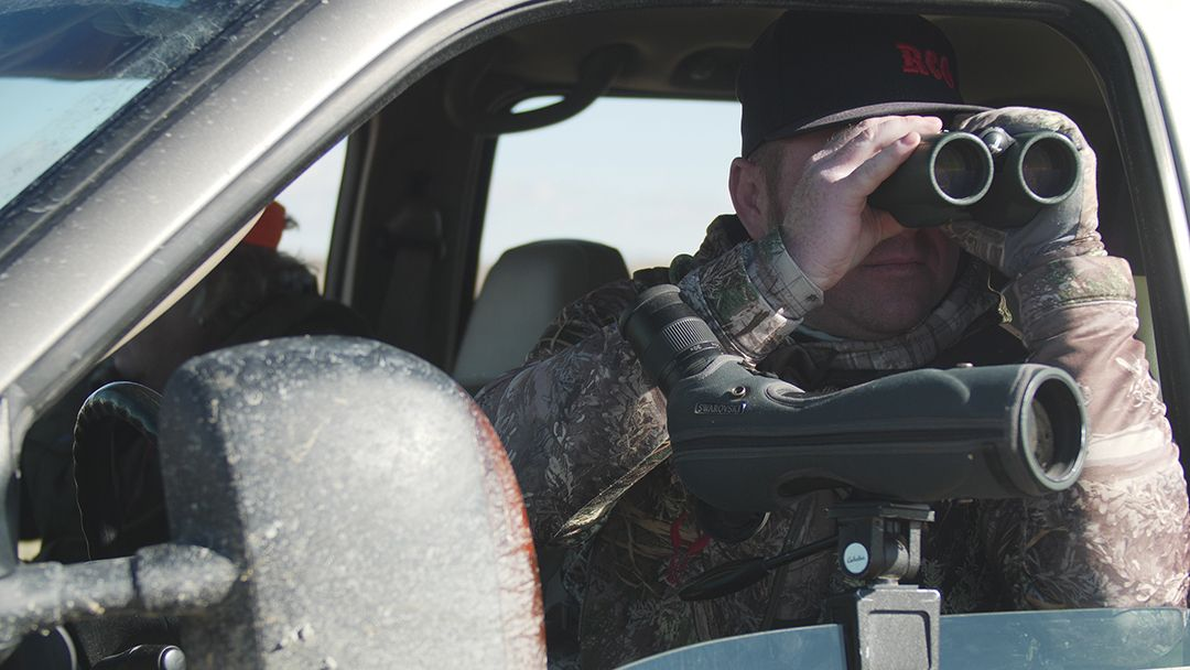 Dusty Schell is glassing for pronghorn in Carbon County, Wyoming.