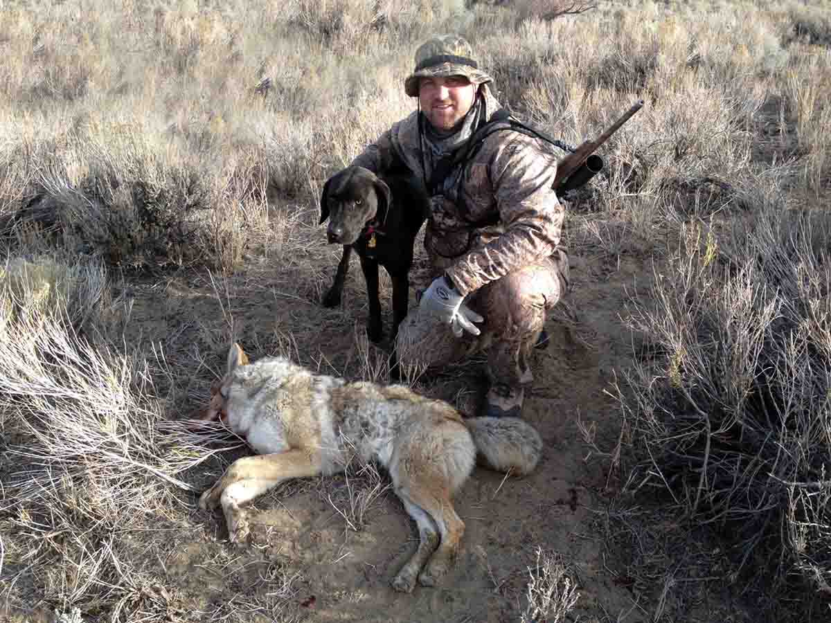 Some enterprising coyote callers have found a way to hunt alone while enjoying the company of a friend.  Photo courtesy Cory Lundberg