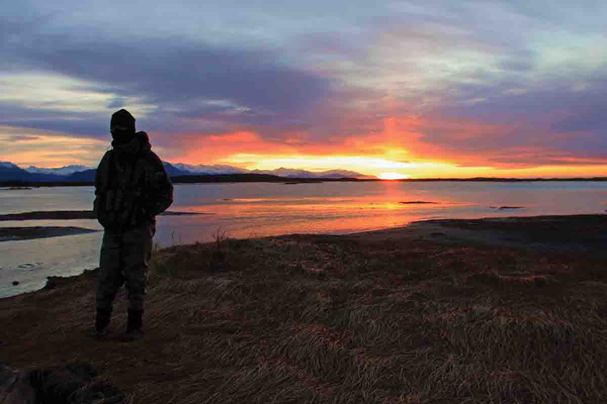 It's worth getting up early to enjoy sunrise in coastal Alaska. When Ron finished hunting, he pick up a rod.