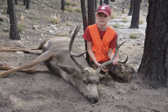 Ryan Brooks shot this good mule deer buck just after a forest fire burned up the area two months earlier.