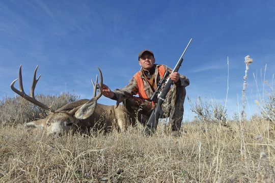 "Jack shot this muley buck after waiting an extended time for it to bed. When his setter Percy showed up, they stalked the deer together with the exception of the final few yards, when the well-trained dog was told to ""stay."""