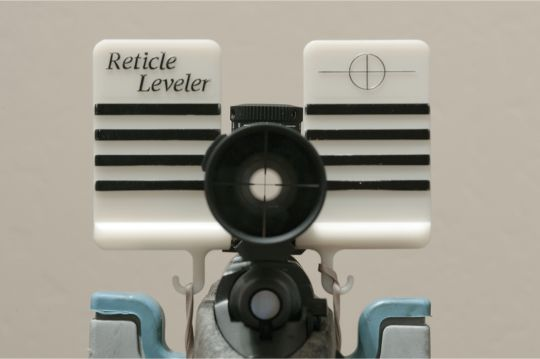 The Reticle Leveler works well for leveling reticles, and a newer version includes a spirit level for good measure. Note the retical is not yet level.