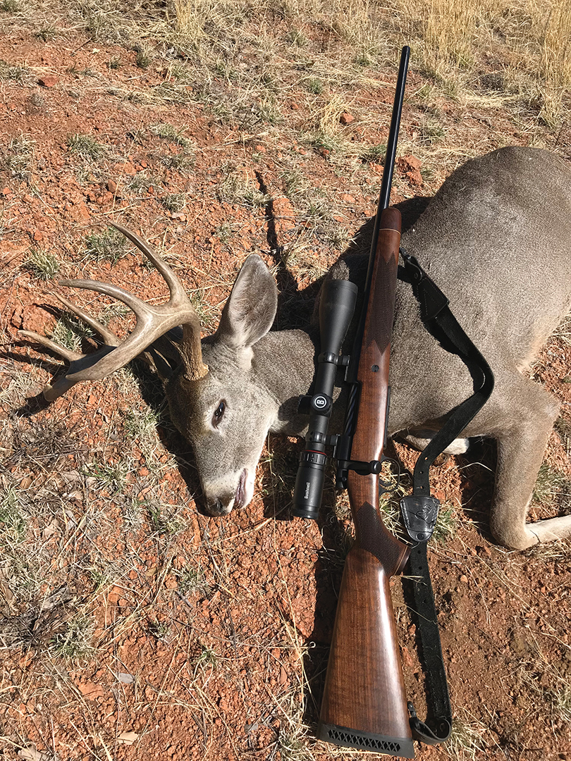 Brad shot his buck with a Mossberg Patriot Revere .300 Winchester Magnum topped off with a Bushnell Nitro 6-24x 50mm riflescope.