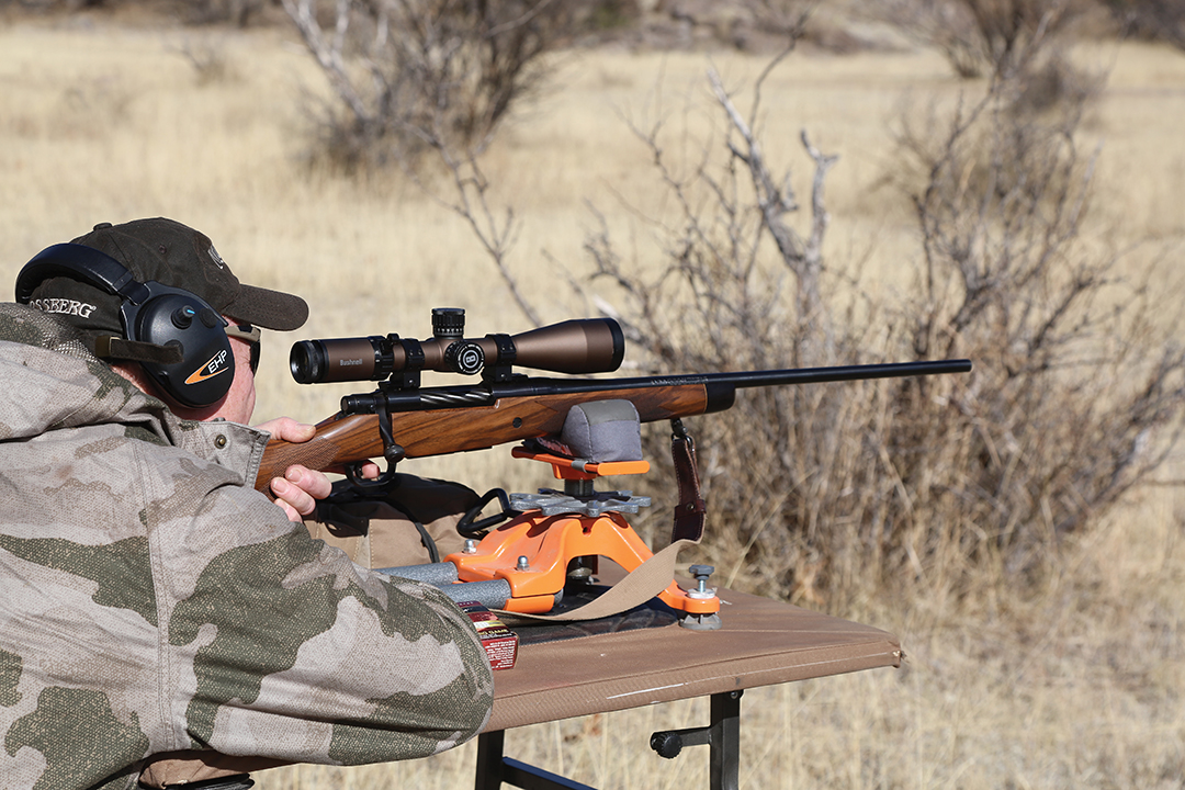 All hunters in camp had the opportunity to check their rifles' zero from a bench.