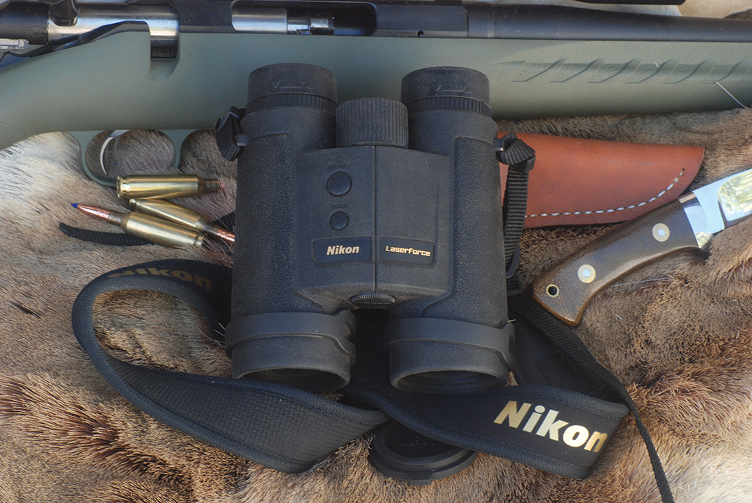 The Nikon LaserForce 10x42 Rangefinder Binocular combines two indispensable hunting products into a single unit – a laser rangefinder and a high-quality binocular.