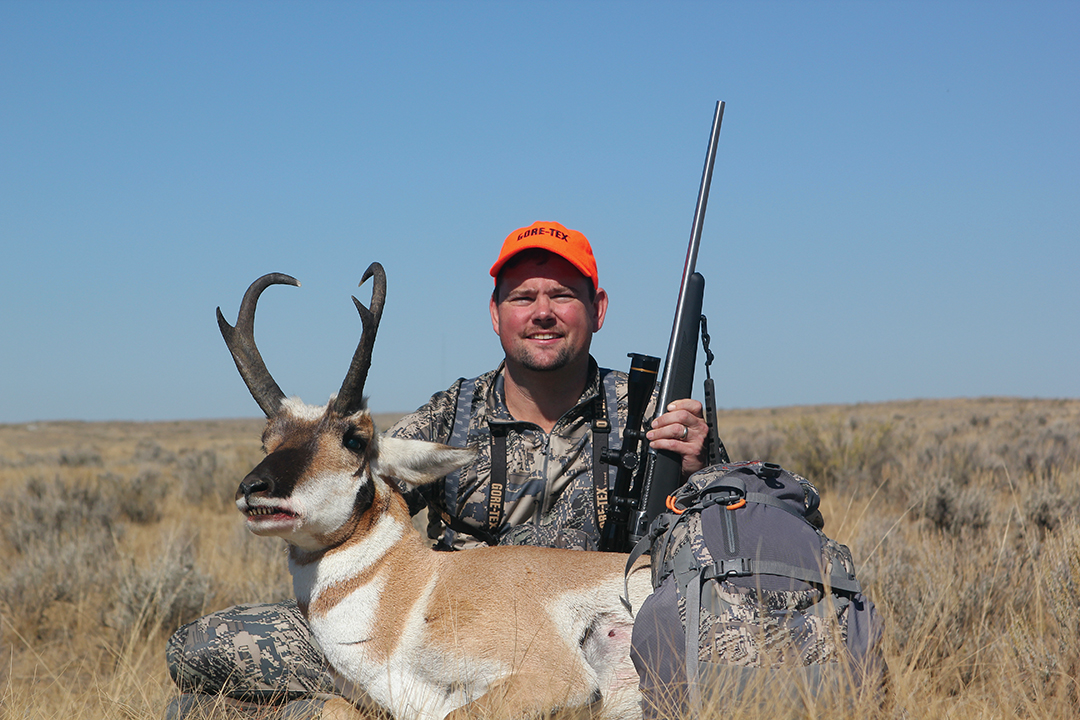 David Dillon's nice Wyoming pronghorn was shot at 200 yards after a long wait in the hot sun.