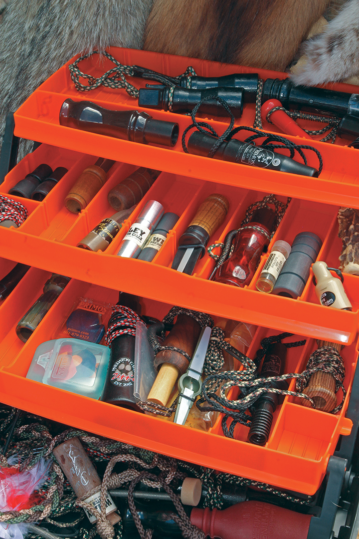 Like anglers, serious predator hunters can fill tackle boxes with a variety of calls.