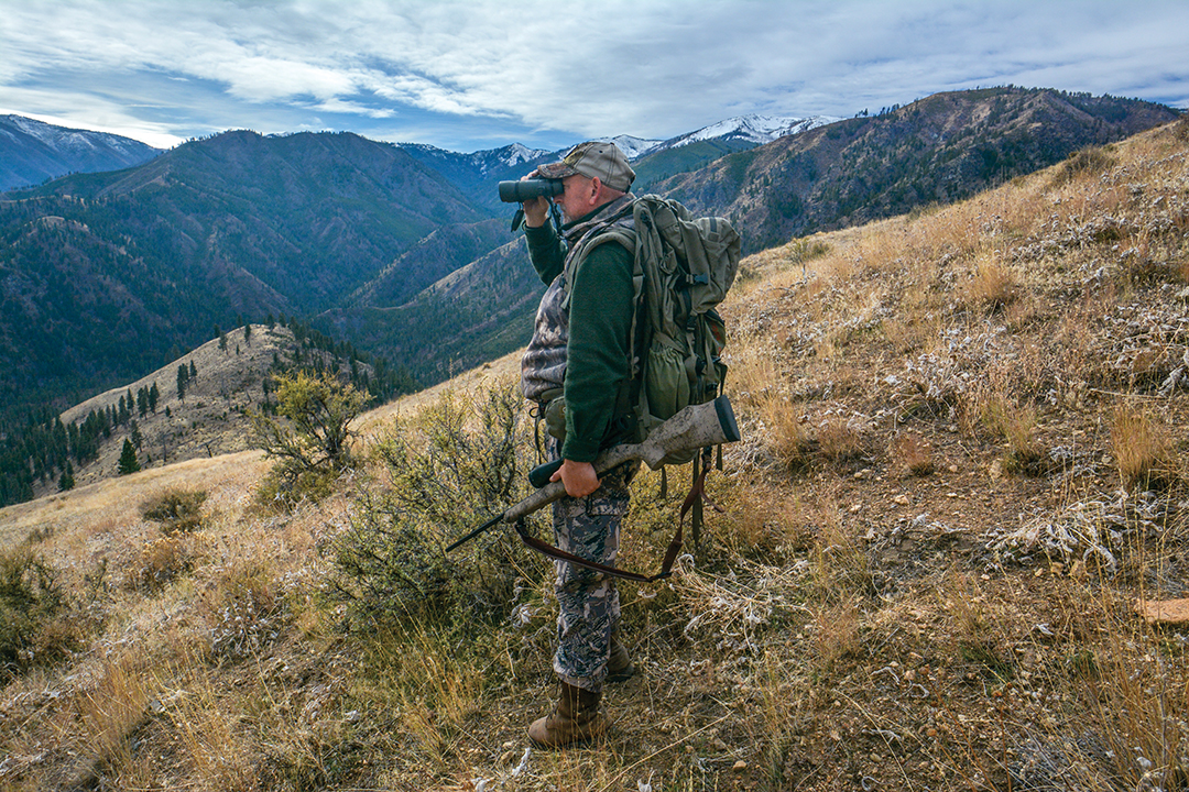 After climbing high above the bedded elk, a quick check to make sure they were still below in the timber allowed the hunters to sneak within shooting range.