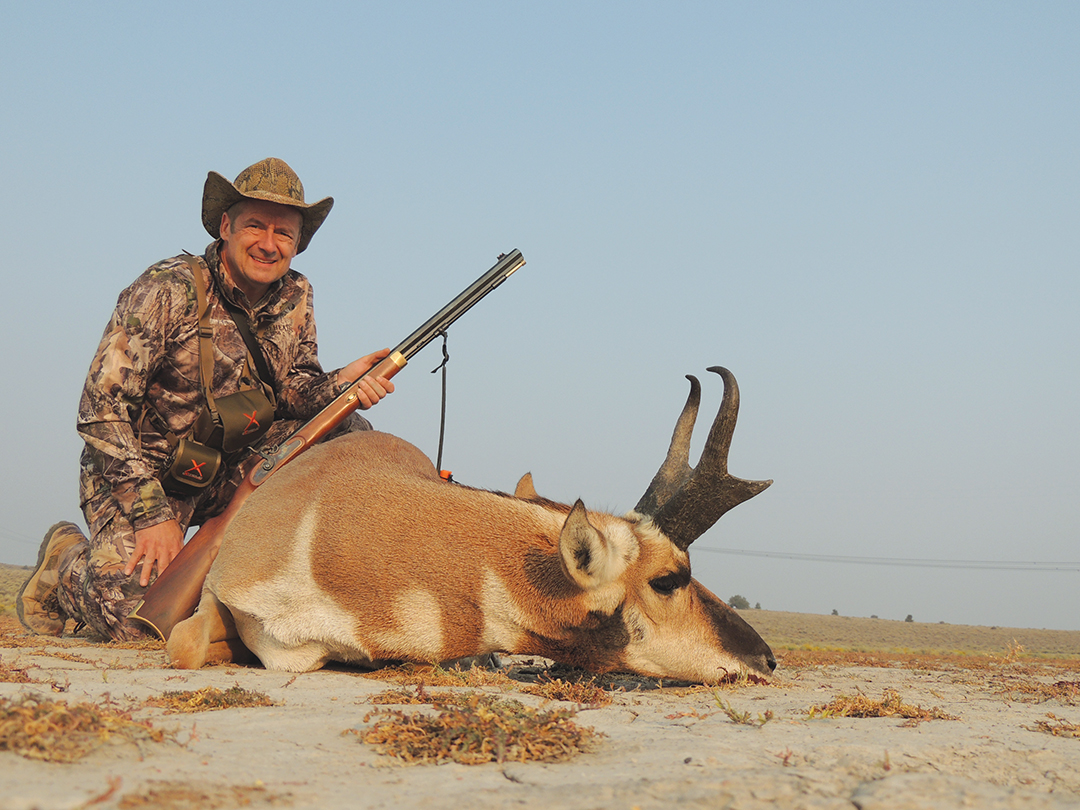 A Lyman Trade Rifle and a 425-grain conical bullet proved the undoing of this second-day pronghorn.