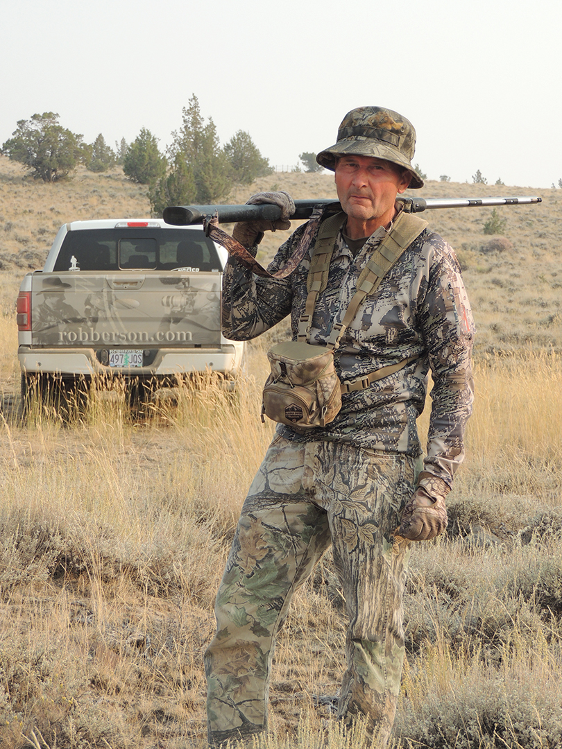 Terry Rodakowski spent six days in the desert hunting solo before he tagged his public-land pronghorn (left). This is his third muzzleloader pronghorn buck, and it had a green score of 71-6/8 inches, an entrant for the NMLRA and Oregon record books.