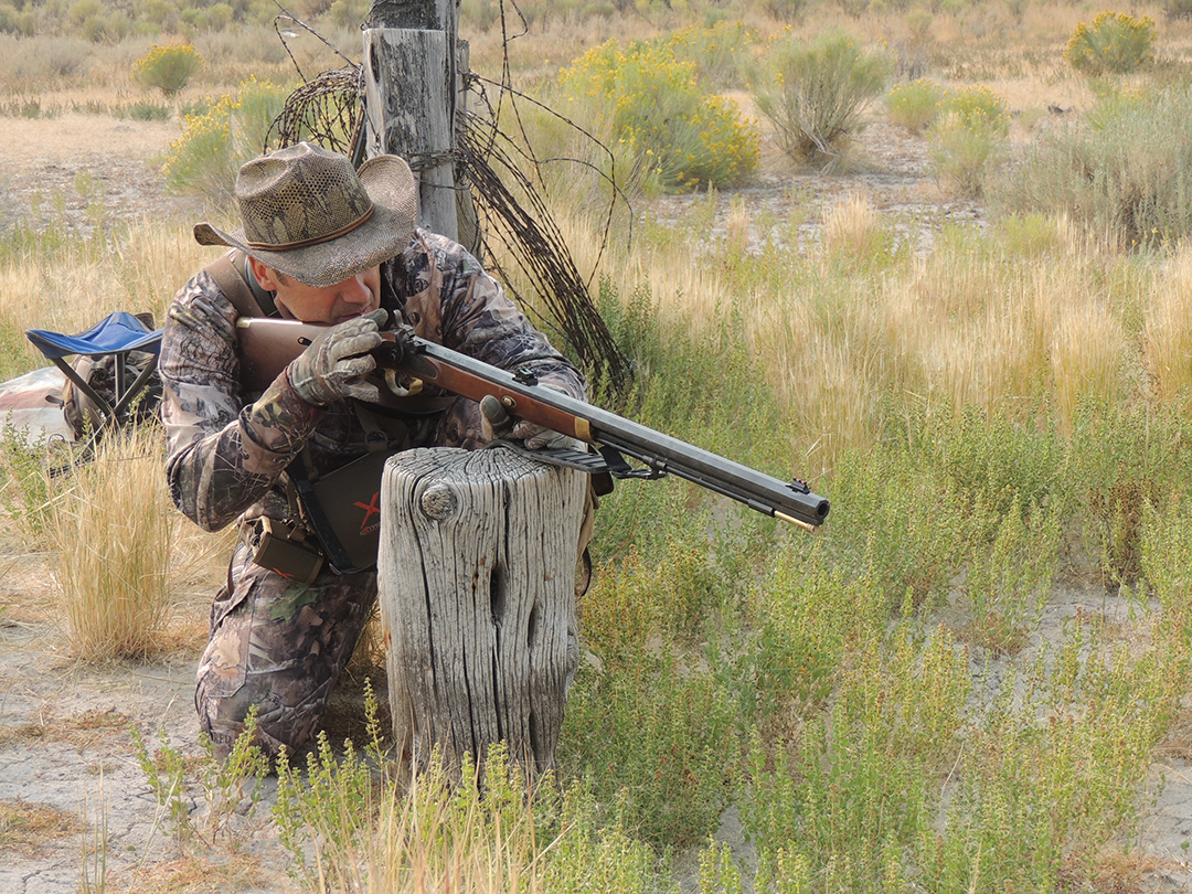 Ancient fence posts in the pan provided cover and a place to rest the rifle when the buck walked into range.