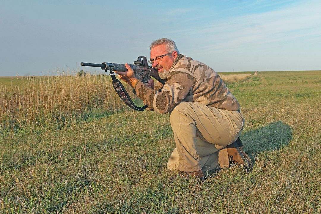 By practicing conditions encountered in the field, a predator hunter can establish his maximum shooting distance from various positions. Photos courtesy howardcommunications.com