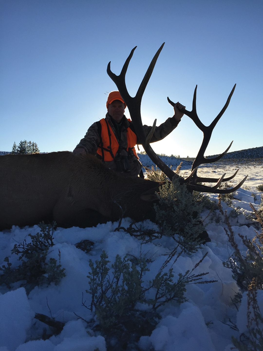 Hunter and guide experienced an amazing sunset on the evening John shot his bull.