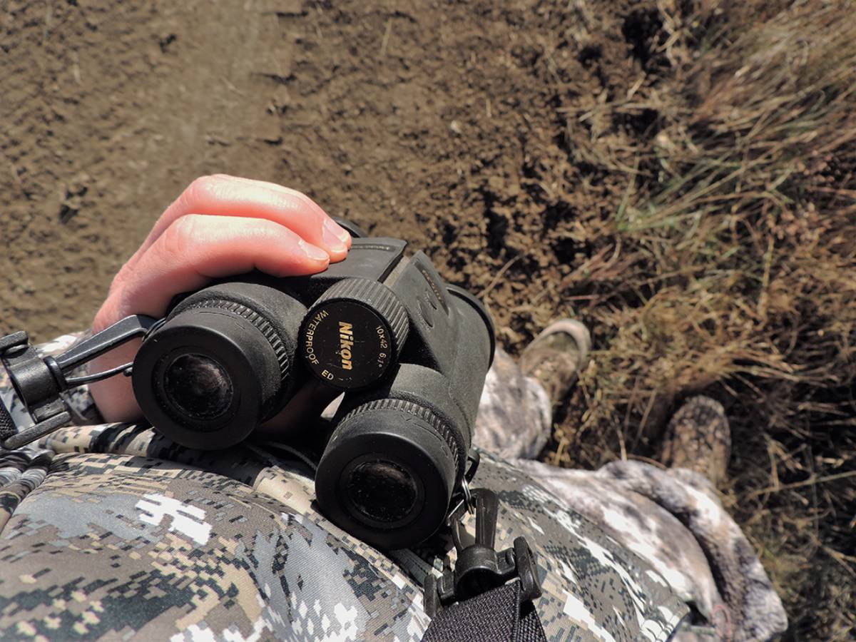 When bowhunting mule deer in South Dakota, use a good binocular.
