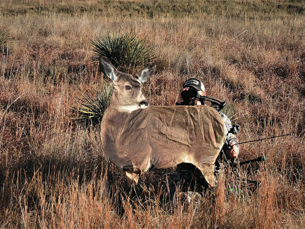 A doe decoy can be used to pull trolling bucks into bow range from a few hundred yards away.